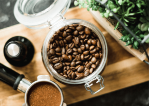 kitchenaid burr grinder review, photo of coffee beans in glass jar